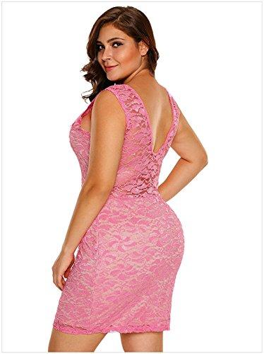 Moda Plus Size Senza Maniche smerlato Hem con scollo profondo a fiori floreale Lace Overlay Mini Bodycon Aderente Fasciante Dress Vestito Abito Rosa