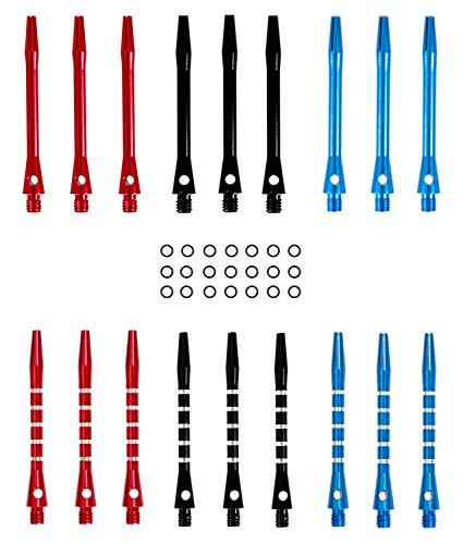 heinsa Aluminum Schäfte Set mit O-Ringe für Dartpfeile | Metall Dart Shafts Dartschäfte für Soft und Steel Darts - Flights und Dart Zubehör (18 Stück Medium Bunt)