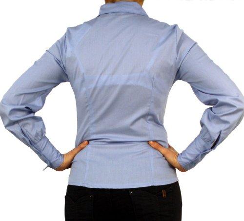 9632 Dames Mesdames chemisier, Femmes blouse, coton, manches longues, avec un arc, bleu clair, violet, rouge, blanc, noir, S, M, L, XL, XXL. bleu clair