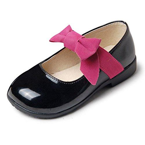 CHNHIRA Enfant Été/Automne Chaussure à fond plat vernis bébé chaussure de princesse pour les petites filles (21EU Rouge)