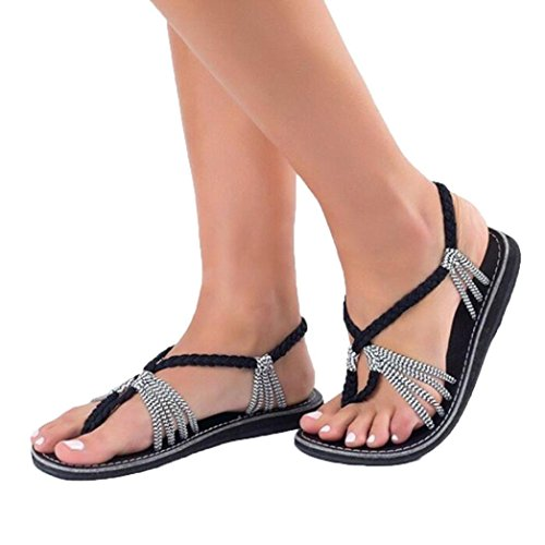 ong Frauen Flip Flops Sandalen Sommer Schuhe Hausschuhe Mode Strand Schuhe Hausschuhe Kreuzgurte Geflochtenes Seil Römische Strandsandalen (39EU, Grau) (Schuhe Römischen Sandalen)