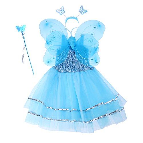 BESTOYARD 4 Teile / Satz Winkel Mädchen Fee Kostüme Dual-Layer Stirnband Zauberstab Kleid Set Weihnachten Geburtstagsgeschenk für Kinder (Blau)