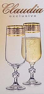 Boheme Exclusive Cristal Set de 6 verres Flutes á Champagne Claudia, 180 ml avec bord doré, d'argent gravure
