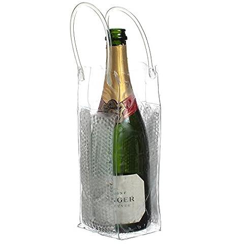 CKB Ltd® CHILL BAG BUBBLES Ice Tote Bag Clear Wine Bottle Cooler Champagne Chiller Bag Gel Protective