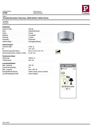 Paulmann 97943 Ringkerntrafo konventionell Toroidal 150W Chrom B/DxHxT 174x92xmm für Halogenschienen- und Seilsysteme