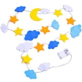 Fabric Star Moon Cloud 6.5ft 20 LEDs Fairy Lights String White Light For Wedding Centerpieces, Decorative Lights For Bedroom, Kids Teepee Decorations, Party Supplies