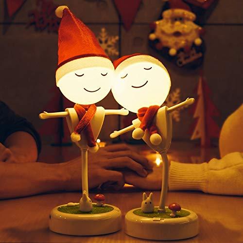 Ornamenti camera da letto carino Decorazione domestica Regalo di Natale per bambini Luce notturna spaventapasseri bianca Usb b