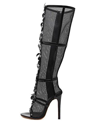 GLTER Donne Peep Toe Pumps 2017 nuovi maglia nera belle fiori squisiti tacco raffinato open-top tubo caricamenti del sistema freddi dei sandali Black
