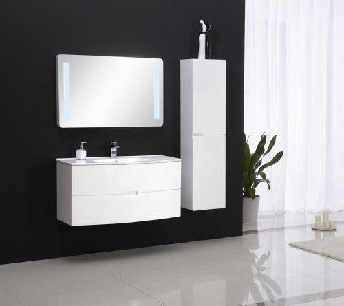 Badmöbel Set mit Waschbecken - ALBA 100 in weiß