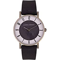 Damenuhr Armbanduhr Analoguhr Titan silbern mit Lederarmband schwarz Adora Design Especially For You 28468