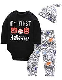 SamMoSon ☀☀Ropa De Punto para Bebés Niña,Carta De Bebé Recién Nacido Mameluco Tops Calabaza Prin Pantalones Cap Halloween Clothes Sets