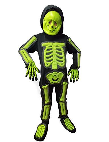IKALI Kinder Halloween Skelett Kostüm,3D Glühen im Dunkeln Bone Jumpsuit (Macht Ein Skelett Kostüm)