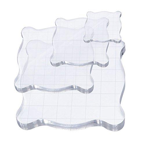 cieher 4Stück Acryl klar Stamping Blöcke-Set mit Gitterlinien für Scrapbooking Handwerk Transparent stempelklötzchen Essential Stamping Tools -