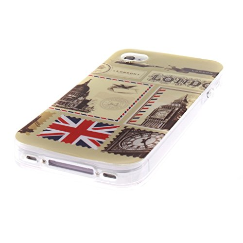 KATUMO®Weiche Etui iPhone 4/4S Schutzschale Premium Gemalt Bumper Schutzhülle S4 Handytasche Silikon Prämie TPU Tasche für Apple iPhone 4 Case Cover Mathematische Formel London Umschläge