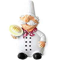 Condello Casa Cute Adhesive Resin Fat Chef Utility Wall Hook Rack Hanger Sticky Cable Plug Holder Art Décor Storage Organizer for Coat Clothes,Towel,Wreath,Key,Garage,Kitchen,Bathroom,Kid Room