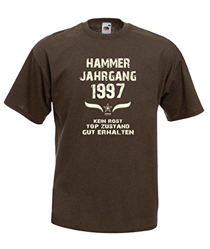 Sprüche Fun T-Shirt Jubiläums-Geschenk zum 20. Geburtstag Hammer Jahrgang 1997 Farbe: schwarz blau rot grün braun auch in Übergrößen 3XL, 4XL, 5XL braun-01