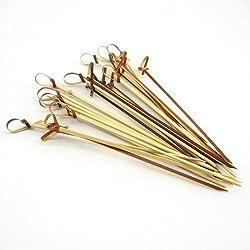 bamboomn Marke Bambus geknotet Picks für Cocktails und Hors 'Platten in Tee 3.1-Inch Tee