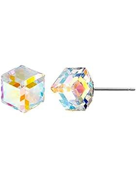 Diagonal Würfel Swarovski Kristall Elements Ohrstecker Handgefertigt Funkelnder Diamant Geschenke für Frauen 925...