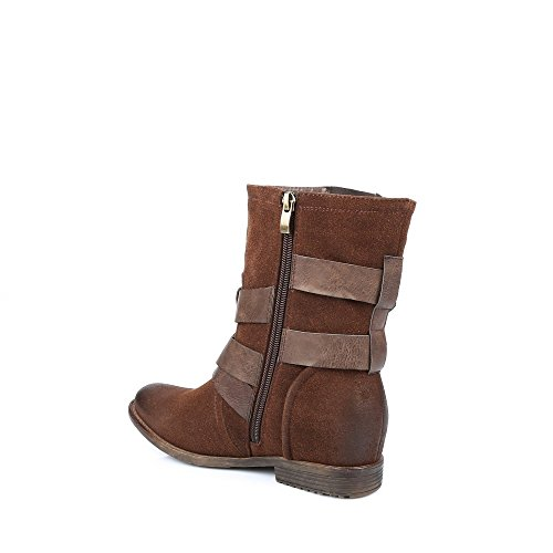 Ideal Shoes - Bottines décorées de ceintures Gaiane Marron