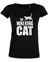 FabTee Walking Cat Vintage - Men Organic Cotton T-Shirt - Size XS-2XL