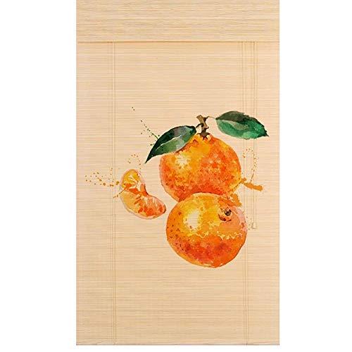TINGTING Fensterläden, Orange Printing Bamboo Roller Shades Mit Valance Roll Up Blind Screen Schlafzimmer Wohnzimmer Tür Vorhang (Farbe : Holz, größe : 60 * 180) - Screen Roller Shades