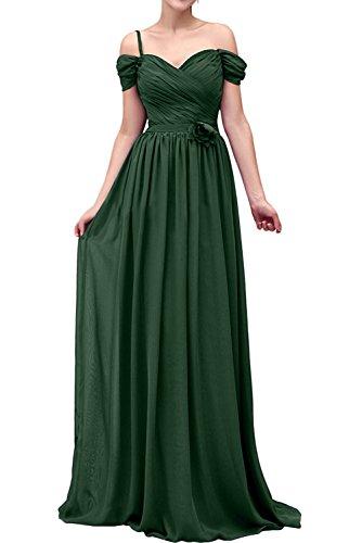 Missdressy Romantisch A-Linie Lang Traeger Chiffon Abschlusskleider Abendkleider Brautmutterkleider Dunkelgruen