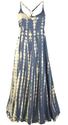 Guru-Shop Batik Sommerkleid, Maxikleid, Strandkleid, Hippiekleid, Damen, Blaugrau, Synthetisch, Size:38, Lange & Midi Kleider Alternative...