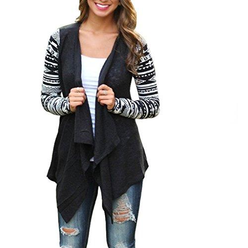 Minetom Donna Sciolto Casual Jacket Cardigan Sweater Capes Ethnic Totem Stampa Maglione Coat Bolero ricamato Boho Tops ( Nero )