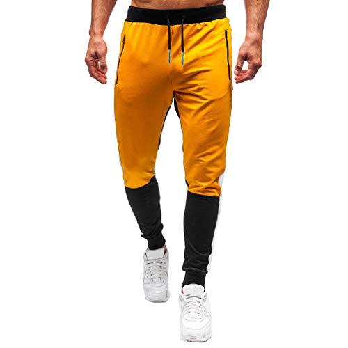 Dwevkeful Hosen MäNner Patchwork Jogginghose Pants Trainingshose Sporthose Freizeithose Bermuda Baumwolle Bewegung Mit Verstellbarem Tunnelzug Casual