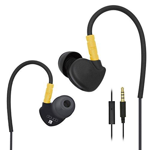 doupi ® Sport Auricolari In-Ear Headphones con Microfono Controllo Cuffie con Memory Wire Sopra l'orecchio design Earpods Earpads Earphones Headset Auricolare nero / giallo