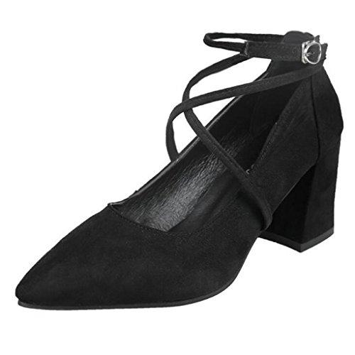 Binying Sandales Pour Femmes Fermé Avant Bloc Talon Noir