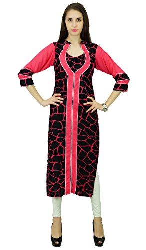Phagun Designer Kunstseide Bollywood Kurta Ethnic Kurti Top Tunika-Kleid Schwarz und Lachs