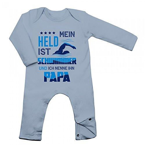 Schwimmer Babybody Berufe Follow Your Dreams Traumberuf Langarm Langärmliger Strampler, Farbe:Babyblau (Dusty Blue BZ13);Größe:3-6 Monate