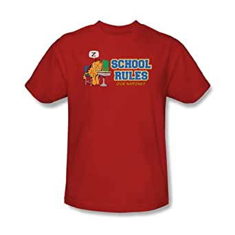 Garfield - - École des adultes Règles T-shirt In Red, XXX-Large, Rouge