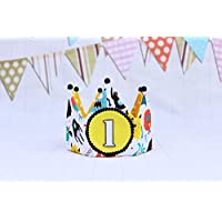 Corona cumpleaños de tela reversible monstruos para bebés y niños, decoración de cumpleaños infantil