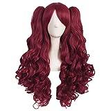 MapofBeauty 28 Pouce/70cm lolita longs cheveux bouclés 2 clips de queue de cheval de jeu de rôle perruque (Blood-Rouge)