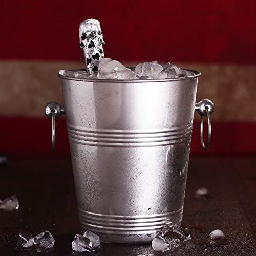 IC&EO Wein Eiseimer, Europäische Dick Sektkühler Edelstahl Eiswürfelbehälter Wein Kühler Getränke Eimer Flasche Kühler Für Party Bar-5l 20x23cm(8x9inch) (Acht Flasche Wein Kühler)