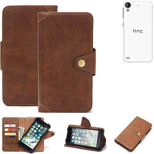 K-S-Trade Handy Hülle für HTC Desire 530 Schutzhülle Walletcase Bookstyle Tasche Handyhülle Schutz Case Handytasche Wallet Flipcase Cover PU Braun (1x)