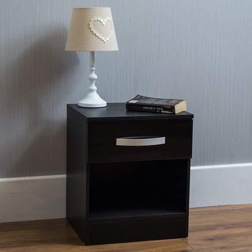Vida Designs hulio Nachttisch, Hochglanz, 1Schublade, mit Griffen aus Metall, einzigartige Anti-Bowing Schubladen, Schlafzimmer-Möbel -