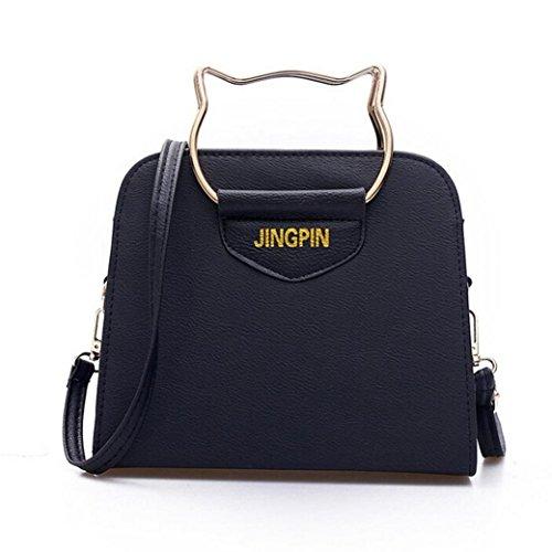 Jamicy Donne ragazze telefono moneta borsa piccola a tracolla Totes borsa di pelle Nero