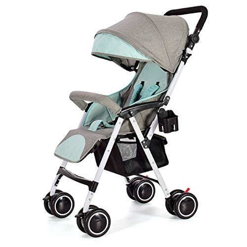 Twin Trittbrett (Der Vierrädrige Wagen Der Säuglingskinder Kann Den Liegenden Faltbaren Leichten Tragbaren Baby-Regenschirm-Stoßdämpfer Four Seasons Mint Green Sitzen)