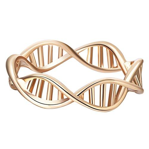 Gold DNA Ring vergoldet Frauen Chemie Ring Wissenschaft Molekül Ring Vintage Ringe