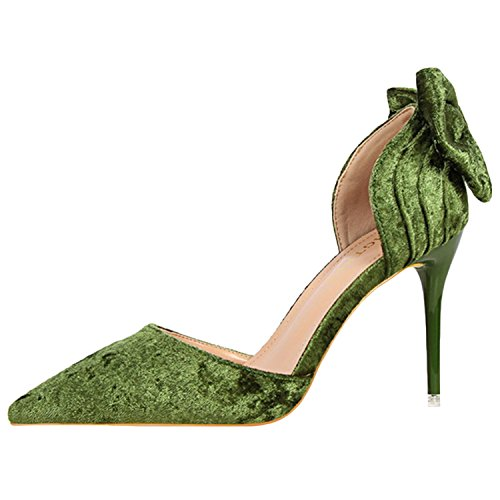 Oasap Women's Pointed Toe Slip-on Bow Suede Pumps Green