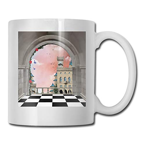 Jolly2T Funny Ceramic Novelty Coffee Mug 11oz,Castle Balcony Checkered Floor Pattern Medieval Architecture Floral Arrangement,Unisex Who Tea Mugs Coffee Cups,Suitable for Office and Home Floral Demitasse Cup