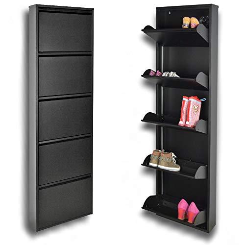 Una scarpiera salvaspazio slim a 5 ante nera, per un massimo di 15 paia di scarpe; le uniche scarpiere in metallo, garantite a vita, anche per esterni