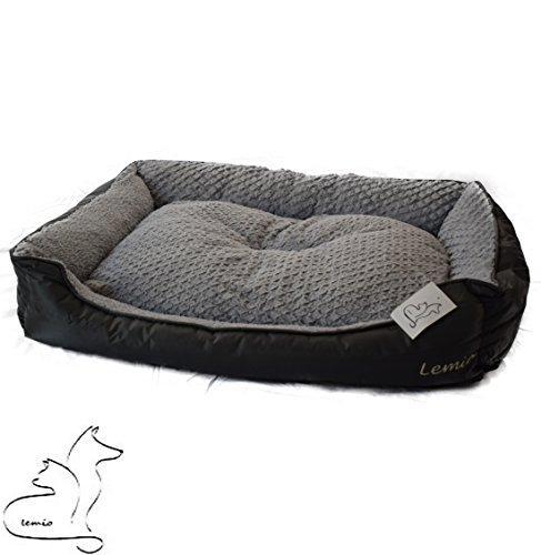 Lemio- Hundebett Two Color Hundesofa Hundekissen Hundekorb kuschelig Reisebett (XL 100x85x25cm, grau)