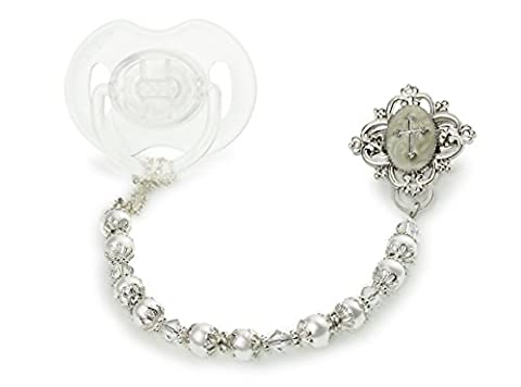 Crystal Dream Baptism White Swarovski Simulated Pearls Clear Crystals Sterling Silver Hand Enameled Baby Christening Gift Pacifier Clip (CCRS)