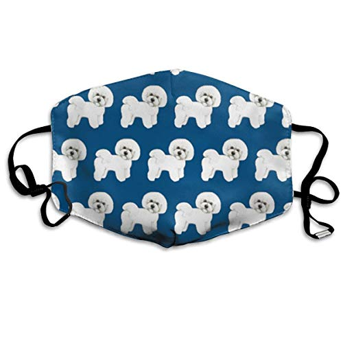 SDGSS Mouth Maske,Bichon Frise On Navy Fabric PM 2.5 Cotton Face Mouth Mask Muffle Respirator Comfy Reuseable Dustproof Mouth Cover Warm Windproof Face Protective Guaze Mask -