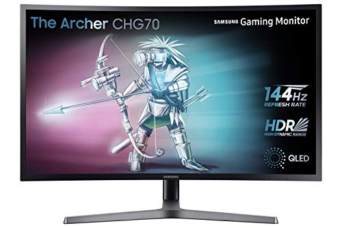 Samsung c32hg70 monitor per pc desktop curvo va da gaming 32'' wqhd, 2560 x 1440, hdr, 144hz, 1ms, 1 display port, 2 hdmi, blu scuro/grigio
