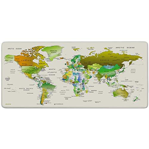 JIALONG Tappetino Mouse Gaming Grande Mouse Pad XXL Confortevole Lavabile Antiscivolo Tappetini Scrivania per Gamer Ufficio Tastiera Laptop Mappa del